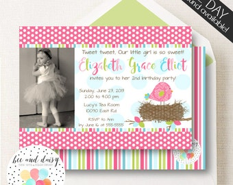 Bird Birthday Invitation, Bird Invitation, Birds Nest Invitation, Birds Nest Birthday Invitation, Girl Birthday Invite, Girls First Birthday