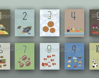 Cards numbers count to 10, Boy numbers Card Set, Nursery Wall Cards, sport, automobile numbers Flash Cards, Fine Art Prints, 123 Cards