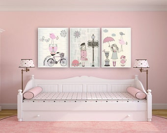 Shabby Chic Nursery Decor, Baby Room Shabby Chic Bonjour For Baby Girl - Paris Nursery art - Set of 3 prints Shabby Chic Light Pink And Gray