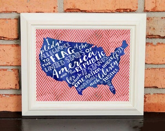 Wall Art - Pledge of Allegiance - Red White and Blue - US Flag - Patriotic Art - Watercolors - Typography - Red Chevron - Classroom Art