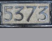 FOUR NUMBER Custom Ceramic House Number Plaque Tile, weatherproof sign, curb appeal, address plaque, housewarming gift, street number.