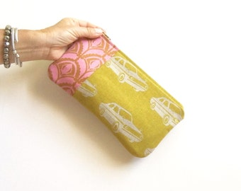 retro cars clutch, pencil pouch, makeup bag, cosmetic bag, pencil bag, pink gold mustard, travel bag, holiday gift