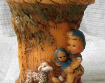 Vintage 1978 Candle, Alpine Originals, Hand Painted, Girl Holding Baby, White Lamb, Cradle, Forest