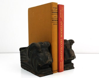 Vintage wood bookends / Architectural corbels / Gargoyle head book ends / Lions head