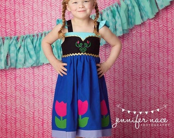 Frozen Anna Dress,  Anna's Blue Mountain Dress inspired by Disney's Princess Anna, available in sizes 2T-8girls