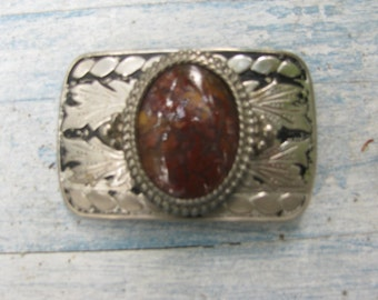 Great Vintage Belt Buckle Silver Toned Metal & Agate Cowboy/Cowgirl Boho Style