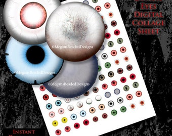 12mm Zombie Eyes Horror Digital Collage Sheet Instant Download printable Eye Images