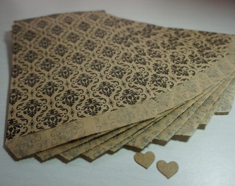 25 Small Brown Kraft Flat Paper Bags ~ Black Damask Design ~ *Markets*Jewellery*Gift Cards*