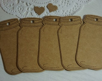 20 Quality Kraft Die Cut Gift Tags Mason Jars blank DIY + Twine ~ *Markets*Homemade Gifts*