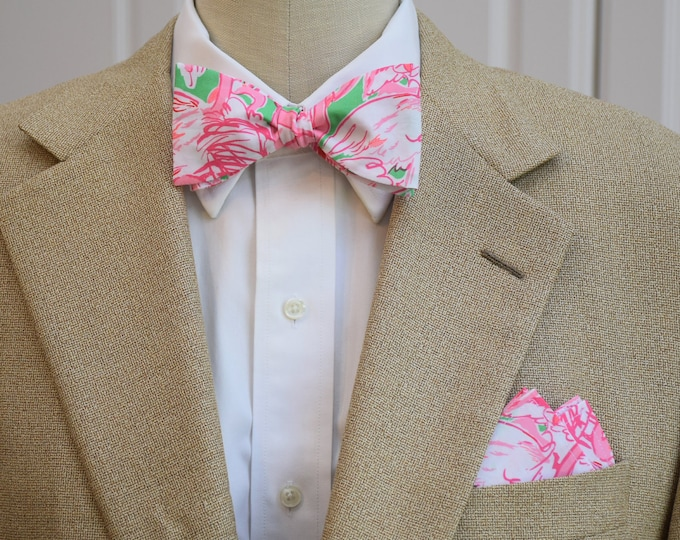 Men's Pocket Square and Bow Tie in Lilly Pink Colony flamingos, wedding party wear, groomsmen gift, groom bow tie set, men's gift set