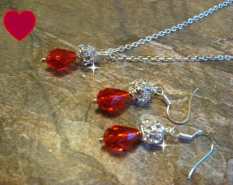 Swarovski Red Crystal Teardrop and Rhinestone Bridal Necklace and Earring Set / Bride or Bridesmaid Jewelry Set