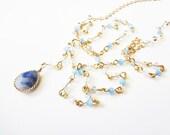Long Gold Blue Beaded Y Necklace. Sodalite Chalcedony Gemstone Jewelry. Framed Pendant Teardrop Stone. Light Blue Crystal Drop Necklace