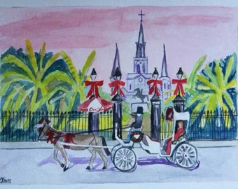 Christmas at Jackson Square New Orleans | Christmastime winter carriage ride | watercolor print art french quarter Louisiana red bow pink