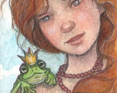 Original ACEO.....Gwendolyn and the Frog Prince