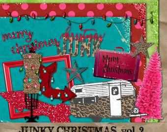 Junky Christmas Vol 2 digital clipart paper kit Instant Download elements commercial use okay leopard print camper glamper frame lights