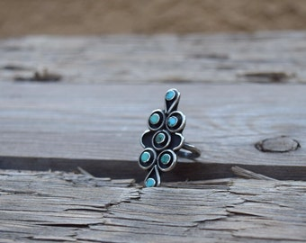 Turquoise ring sterling silver vintage jewelry boho bohemian statement ring gift for her womans gift