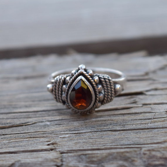 Garnet ring sterling silver vintage jewelry gift for her Christmas gift under 50 winter holidays