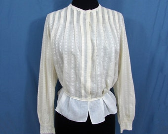 Edwardian Blouse - ivory embroidery and pulled thread - tatted trim - 1900-1915