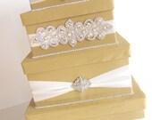 Wedding Card Box, Bling Card Box, Champagne Gold Money Holder, Custom handmade 4 tier money box