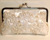 SALE Bridal Clutch Couture Ivory with Antique Pearl and Sequin Beaded Lace Ivory READY to SHIP
