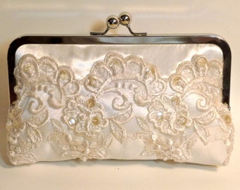Bridal Clutch Couture Ivory with Antique Pearl and Sequin Beaded Lace Ivory or White