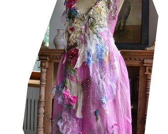 RESERVED Part Payment Beautiful Romantic Dusty Pink Silk Chiffon Dress SHE Two Layers of Silk Antoinette Tattered Antique  Cinderella Boho