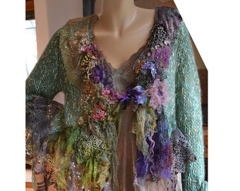 Unique Art To Wear Mint  Sweater Jacket  UNDINE Forest  Fairy Gipsy Antique Tribal Antoinette Tattered