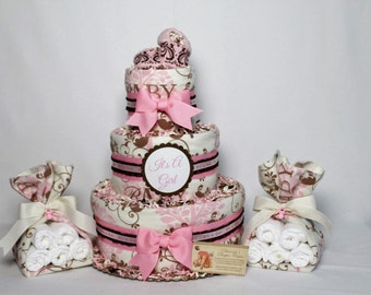 Baby Diaper Cake Girls with 2 Matching Stork Bundles Shower Gift or Centerpieces