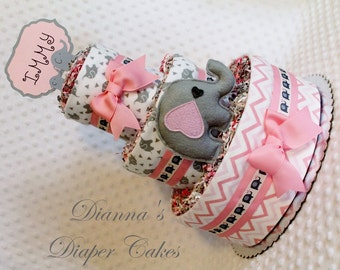 Elephants Pink & Gray Baby Diaper Shower Gift or Centerpiece