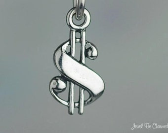 Miniature Sterling Silver Dollar Sign Charm Money Cash Tiny Solid .925