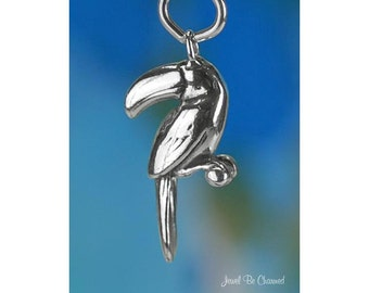 Sterling Silver Toucan Charm Exotic Bird Tropical Toucans 3D Solid 925