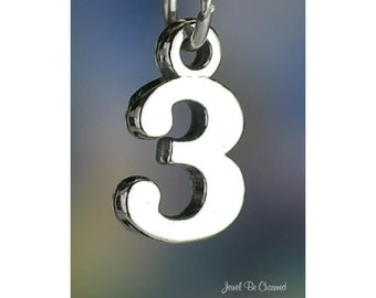 Sterling Silver Three Number 3 Charm Numeral Digit Age Date Solid .925