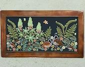 Floral garden mosaic outdoor art. Handmade ceramic quail fern flower art tile.