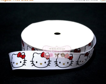 "ON SALE Hello Kitty Inspired 7/8"" Grosgrain Ribbon - Wholesale grosgrain Ribbon - DIY Hair Bow ribbon - 5 yards"