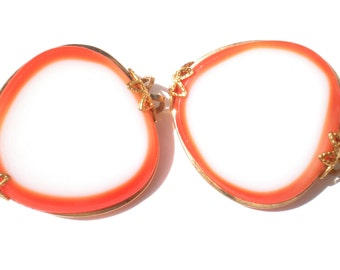 Bright Orange and White Glass Slide Earrings are Hillcraft Vintage Jewelry on Gold Filled Setting