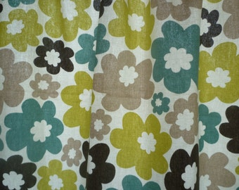 "Green Tablecloth Topper Retro Blue Taupe 27"" Funky Floral Overlay Console Wedding Party Table Slip Event Centrepiece 100% Cotton"