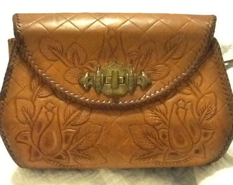 Vintage Hand Tooled Purse Leather Purse Flowers With Intricate Brass Hardware Quilted Background