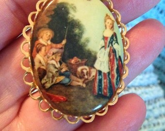 Vintage Brooch Pin With Mother Children and Dog With Gold Edging
