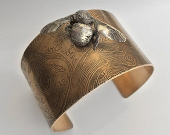 A Widow in Her Weeds   Bronze Cuff Bracelet with Silver Bumble Bee   Jewelry, Fantasy, Steampunk, Eclectic Handwriting Statement Bracelet