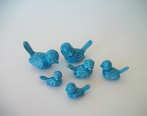 Ceramic Birds Cake Toppers for Wedding or Anniversary in Caribbean Blue or Color of Choice (45 Color Choices), Set of 6, Terrarium Decor