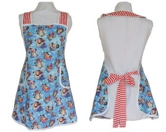 Christmas Apron - Snowmen Playing - Full Figure Kitchen Apron - Size L - Ready to Mail