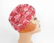 Vintage turban hat, pink red roses, 1960s