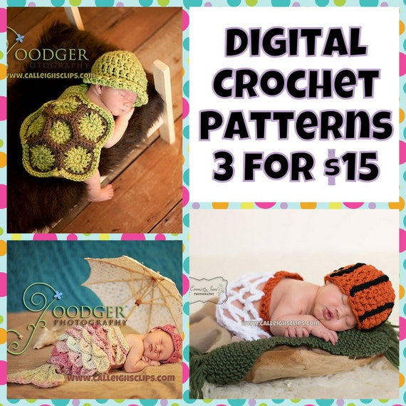 Crochet Pattern Bundle - Any 3 Patterns for 15.00 - Digital files .pdf's  (not finished items)