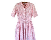 Vintage 1950s Cotton Button Down Shirtdress - Medium