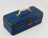 Vintage Rustic Tool Box, Blue Metal Tool Box, Tackle Box