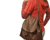 Handmade leather shoulder bag, backpack, messenger, named Daphne in Castagno brown, MADE TO ORDER