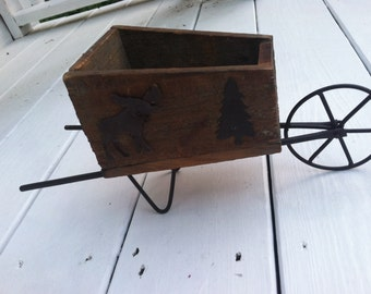 Primitive wood doll wheel barrow or planter