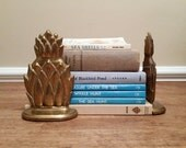 Pair of Brass Pineapple Bookends Shelf Decor