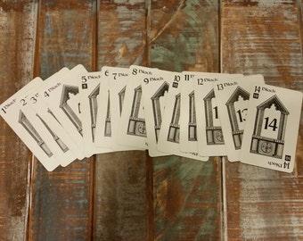 Vintage Numbered Rook Cards 1-14