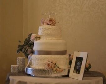 "Cake Stand 18 inch ""Floral Leaf"""